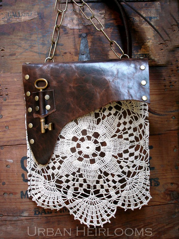 Boho Leather Festival Bag with Crochet Lace Doily and Antique Key https://www.etsy.com/listing/156505212 #bags #accessories #doily #leatherandlace #keys #boho #prairiechic #countrygirl #gypsy #crochet