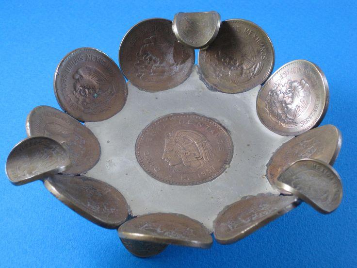 $29. Vintage Coin Tray Bowl Silver Copper Sculpture, 1940's, Mexico, Centavos. Nest & Company, #Shopnestandcompany by shopnestandcompany on Etsy