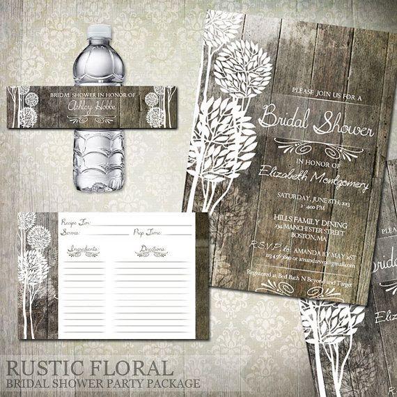 Rustic Wood Bridal Shower Invitations, Recipe Cards, Water Bottle Labels - Digital File Printable - Wedding Shower Invitations on Etsy, $32.09 AUD