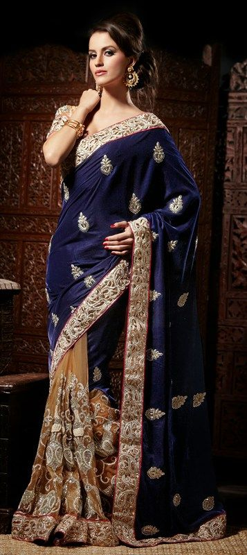 Party Wear Sarees, Net, Velvet, Border, Stone, Blue, Beige and Brown Color Family