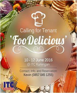 Ayo ramaikan event bazaar makanan dan minuman yang unik dan lezat FooDelicious 2016, yang akan diselenggarakan mulai tanggal 10 sampai 12 Juni 2016 di ITC Kuningan, Jakarta. Bagi Anda yang memiliki bisnis kuliner, dapat mempromosikan brand/produk Anda di event ini.