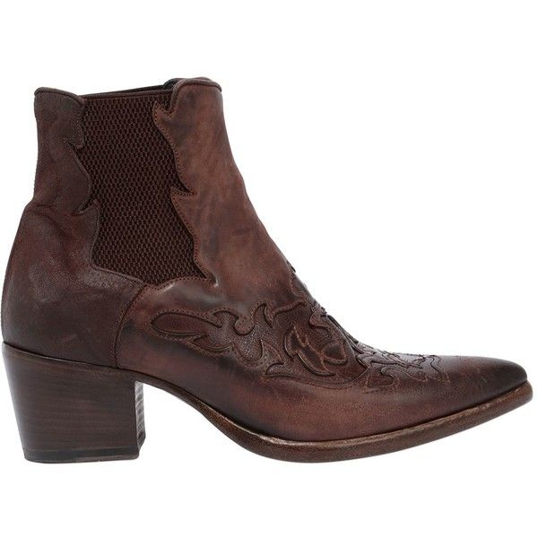 Alberto Fasciani Women 40mm Leather Cowboy Ankle Boots ($520) ❤ liked on Polyvore featuring shoes, boots, ankle booties, brown, ankle boots, brown leather ankle booties, brown cowgirl boots, leather ankle boots and short cowgirl boots