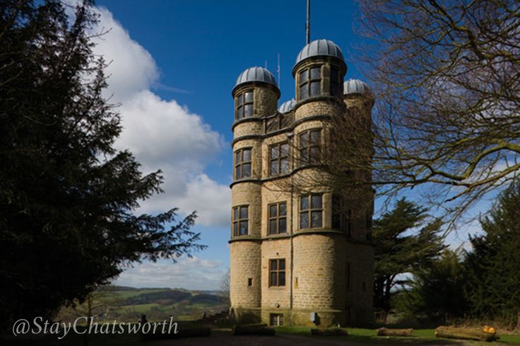 Hunting Tower stands on the escarpment 400 feet above Chatsworth House, on the edge of Stand Wood.