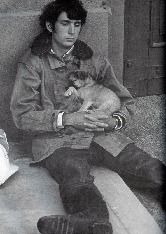 Mike Nesmith and friend take a break on the Monkees set.