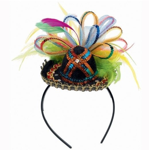 Private Island Party - Mexican Cinco De Mayo Fiesta Deluxe Headband 6664, $12.99 Let's party by Mexican Cinco De Mayo Fiesta Deluxe Headband will surely help you reach this goal. Fiesta Deluxe Headband Material is made out of felt, sequins, feathers, plastic band. Mini sombrero on headband with colorful tulle and feather accents. Great way to instantly create a costume. Show everyone your holiday and Cinco De Mayo Fiesta spirit with this fun headband.