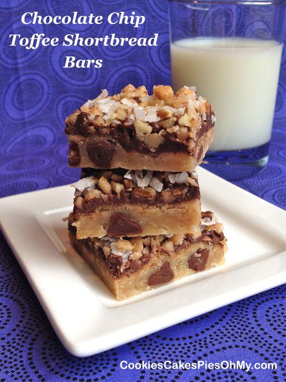 Chocolate Chip Toffee Shortbread Bars | Cookies, Bars, Brownies, Blon ...