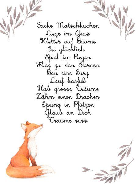 Digitaldruck – Kinderzimmer Druck Bild A4 Fuchs Spruch Kuchen – ein Designerstück von Homelove-cmdsgn bei DaWanda – Daniela Maykemper