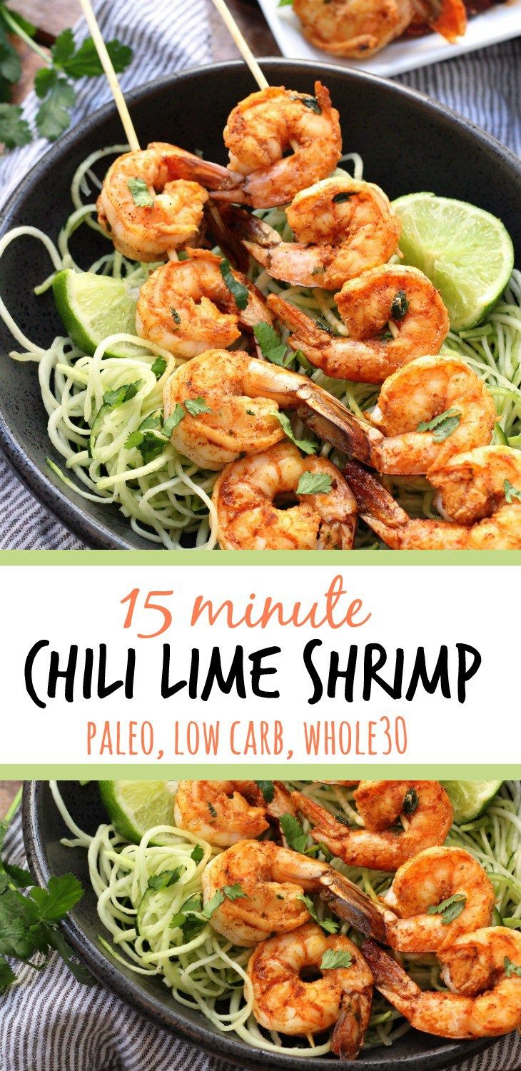 This Whole30 chili lime shrimp is a quick protein to make for dinner or for meal prep. It's so flavorful and takes less than 15 minutes to cook up on the grill or on the stove! This family friendly paleo recipe uses a few simple ingredients to make a great low carb shrimp dinner! #paleoshrimp #whole30shrimp #lowcarbseafood #easypaleorecipes via @paleobailey