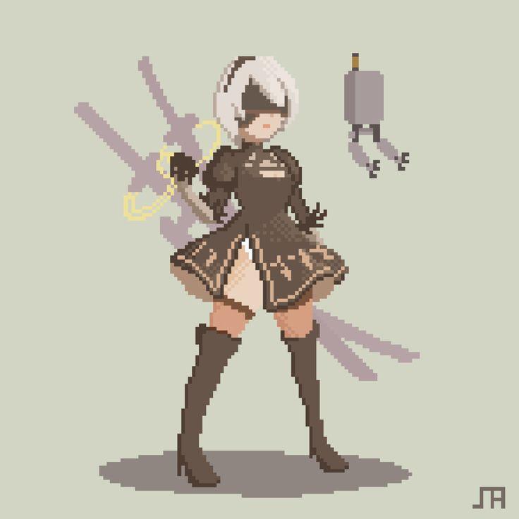 【pixel art】nier 2B , SOMA LI on ArtStation at https://www.artstation.com/artwork/3BqOg