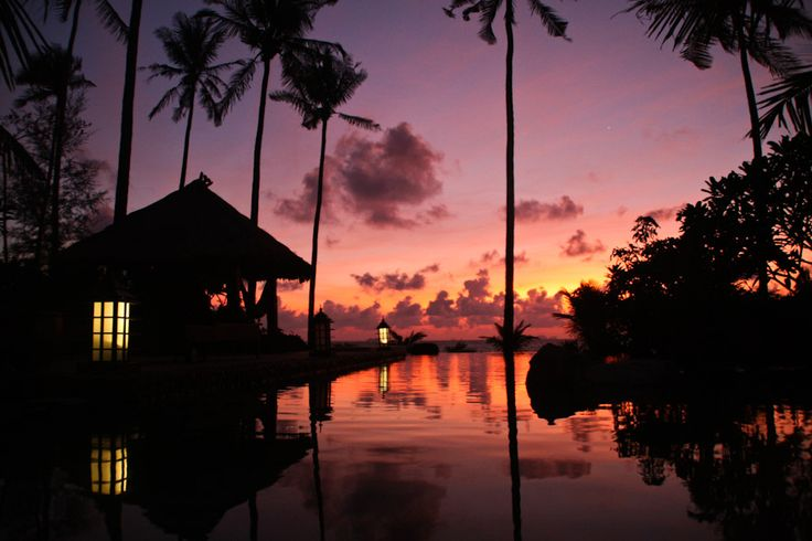 Infinity pool at our beachfront villa on Koh Lanta.