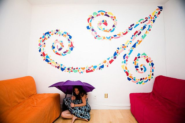Color Me Katie: DIY PAPER mosaic wall mural. Why didn't I think of that?
