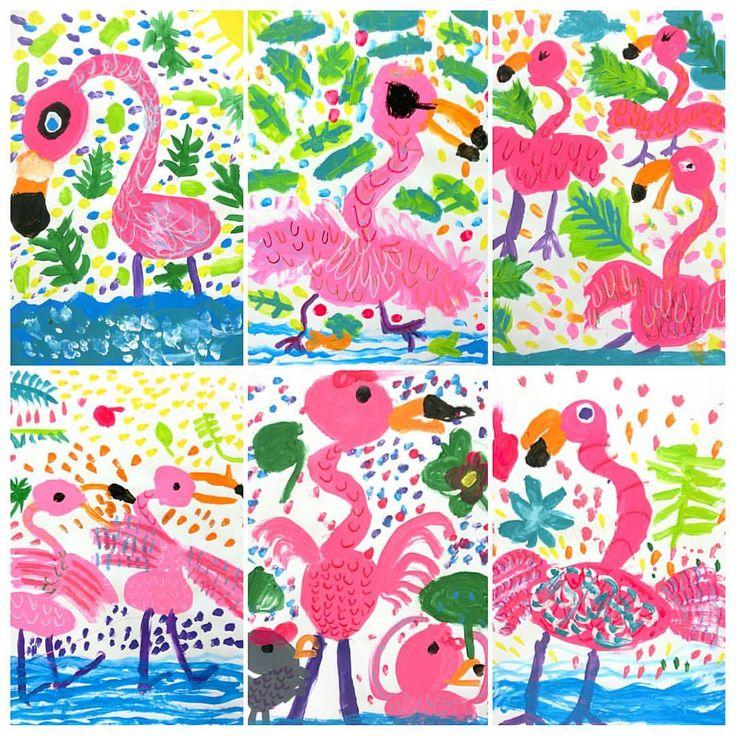 "Gefällt 109 Mal, 12 Kommentare - Miss Lee (@mizzzlee_art) auf Instagram: ""#Flamingos getting ready for summer! #kidsart #1stgrade #kidspainting #summerart #arteducation"""