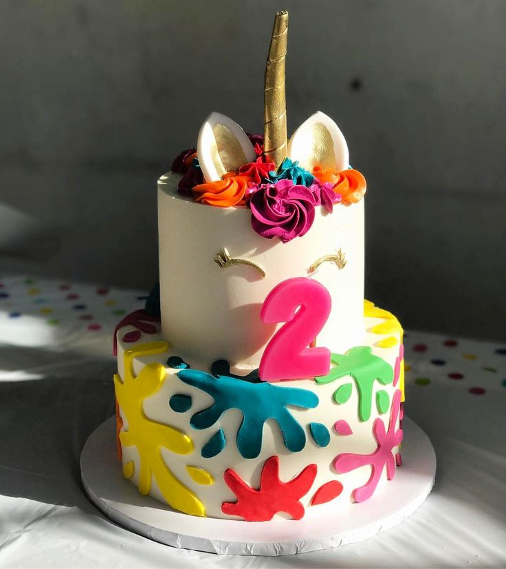 Two-tiered unicorn cake