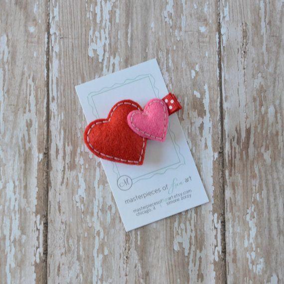 Double Puffy Heart Felt Hair Clippie Red by MasterpiecesOfFunArt