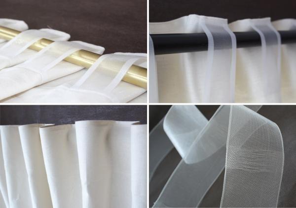 ruflette pour rideaux, décoration, rideau lin : Ruflette pour rideaux transparente 10 cm