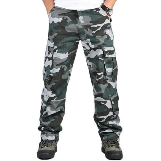 Camo Pants Males Army Multi Pocket Cargo Trousers Hip Hop Joggers Streetwear City Overalls Outwear Camouflage Tactical Pants
