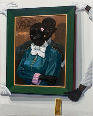 """""""Still Life with Wedding Portrait"""", 2015 (of Harriet Tubman and her first husband, John Tubman) by Kerry James Marshall"""