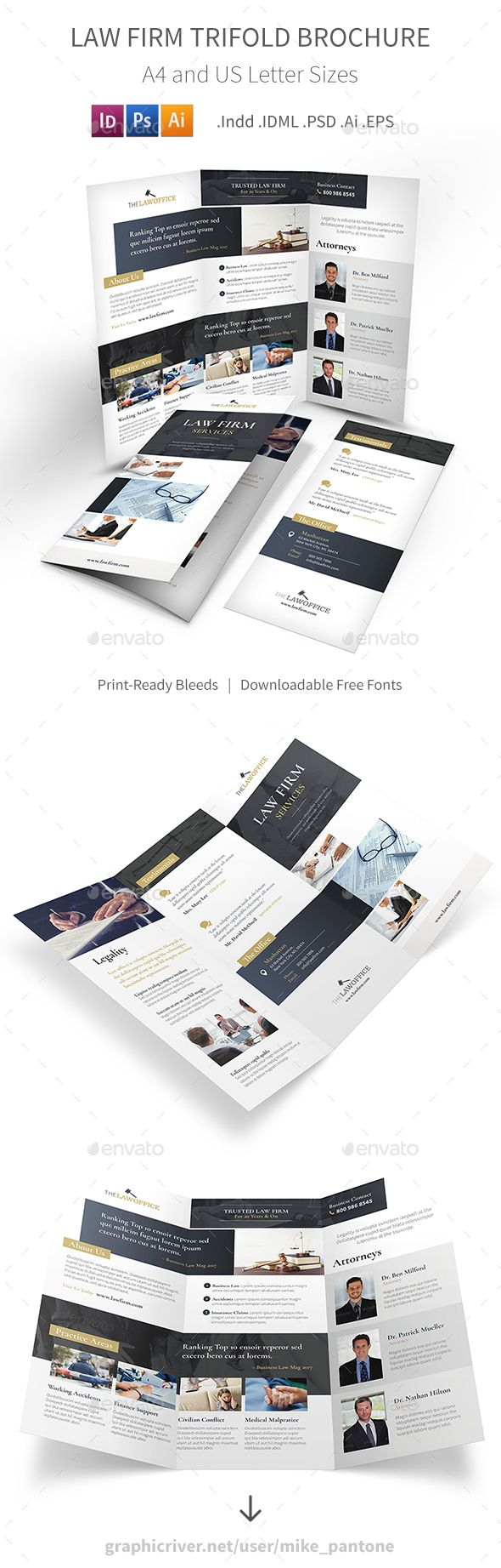 Law Firm Trifold Brochure Template PSD, Vector EPS, InDesign INDD, AI Illustrator