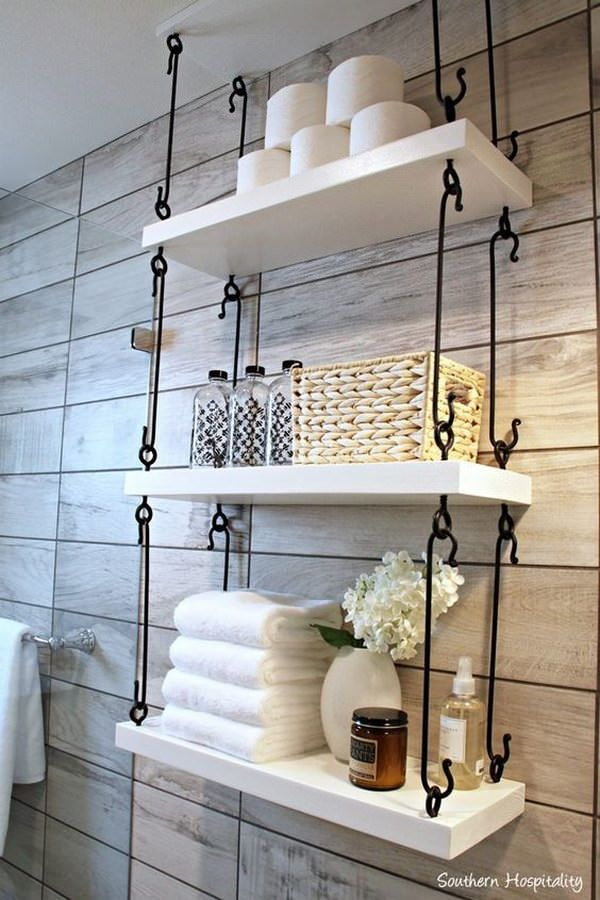 Awesome Home Decorating Ideas   Hanging Bathroom Shelves With White Painted Wood  And Metal Hardware Featuring Towels And Other Bath Items. Part 32