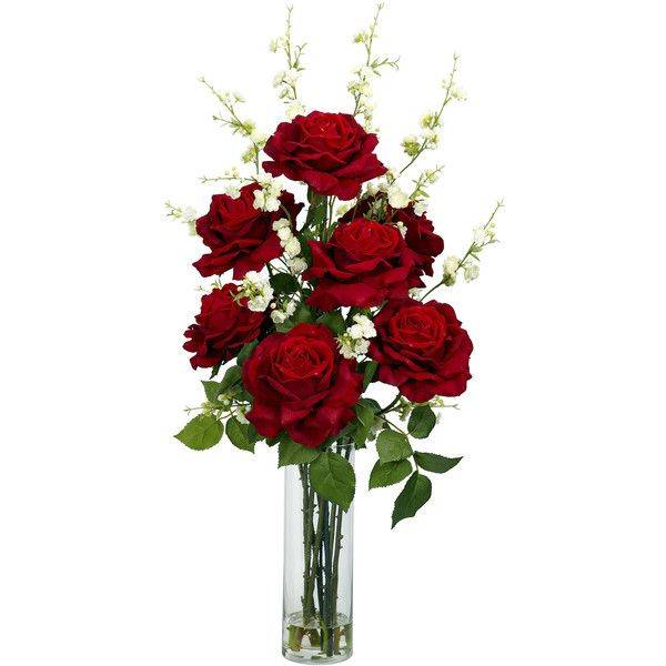 Nearly Natural Roses with Cherry Blossoms Silk Flower Arrangement ($174) ❤ liked on Polyvore featuring home, home decor, floral decor, red silk flowers, artificial flowers, cherry blossom fake flowers, fake flower bouquets and flower stem