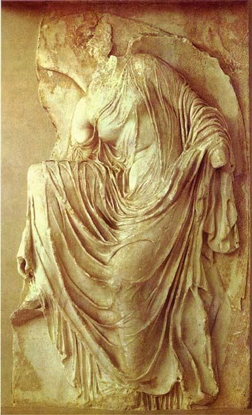 "LATE CLASSICAL (410-300 BC) Nike, from the balustrade (railing supported by balusters) of the Temple of Athena Nike c. 410 - 407 B.C. Marble, height 42"" Taking off sandals indicates that she is about to sep on holy ground - age-old tradition. Wings (one open & one closed) help her keep balance. Garments have deeply cut folds that cling to body. Genre - depicts scenes or events from everyday life. LOCATION: ACROPOLIS MUSEUM, ATHENS"