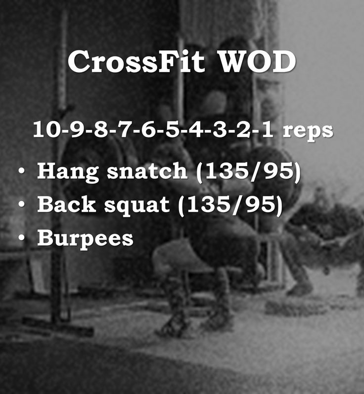Crossfit WOD 4. hang snatch, back squat, burpees