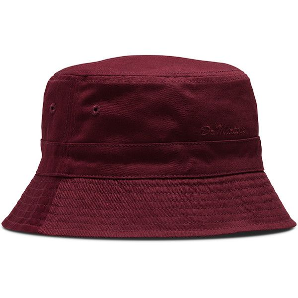 Dr. Martens Cotton Core Bucket Hat (125 BRL) ❤ liked on Polyvore featuring accessories, hats, red, red brim hat, fisherman hat, dr. martens, brimmed hat and fishing hat