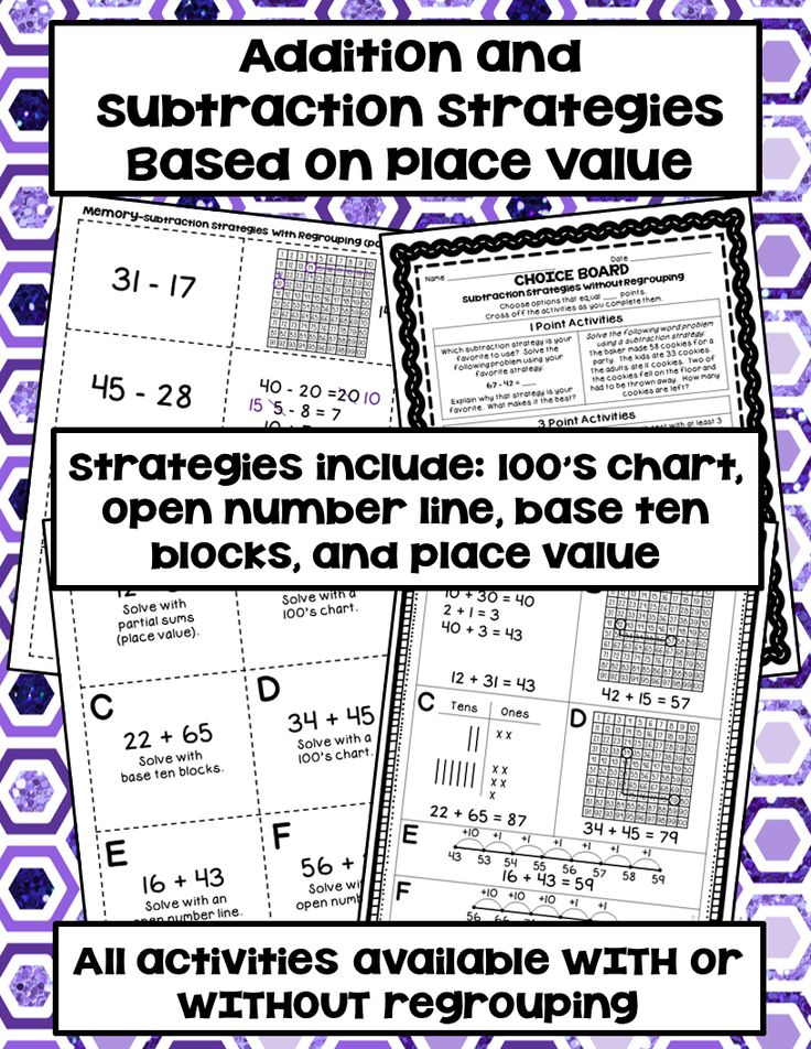Games, activities, and assessments for addition and subtraction strategies based on place value.  The strategies include: 100's chart, open number line, base ten blocks, and partial sums/differences (place value).