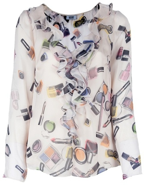 Moschino Cheap & Chic Printed Blouse in White (multicolour)