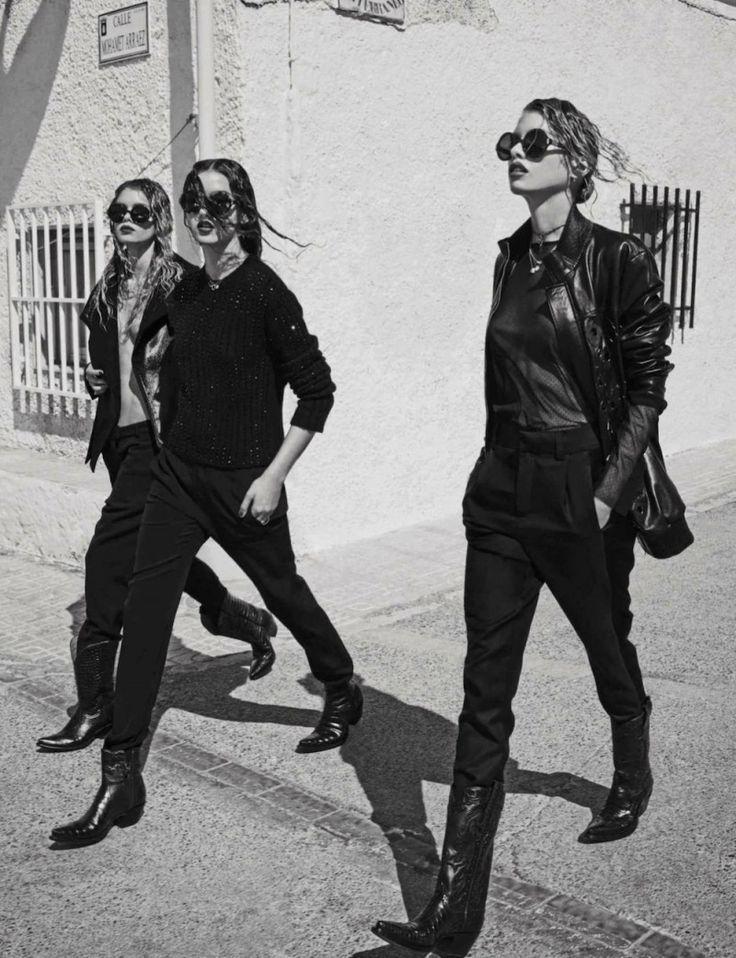 Cosa de Hombres | Vogue Spain August 2014 | Stella Maxwell, Gabby Westbrook-Patrick and Morgane Warnier model masculine fashions for Mariano Vivanco.