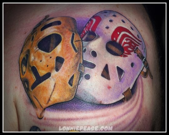 Terry Sawchuck and Jimmy Rutherford Red Wings masks, tattoo and photo by www.lonniepease.com