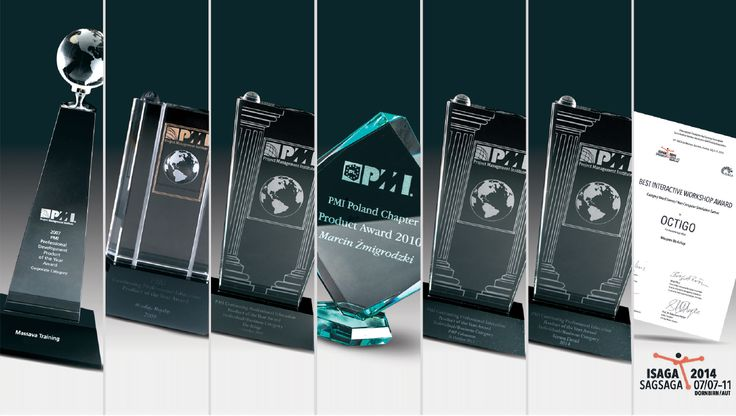 Awards won by Octigo: PMI Award 2007, 2009, 2010, 2013, 2014, PMI Poland Chapter Award 2010, ISAGA 2014 Award