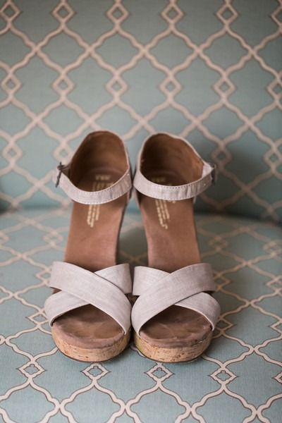 Wedges for wedding - tan, strappy wedges by TOM {Grace Hill Photography}