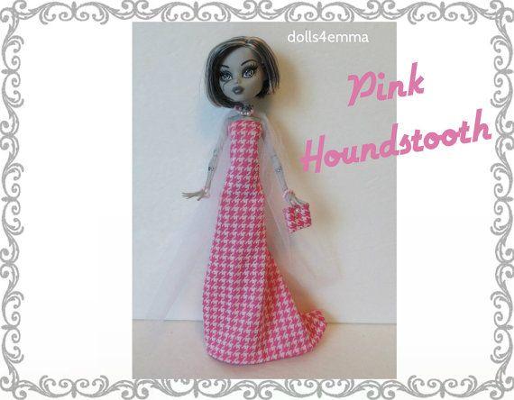 Monster High Doll kleding - roze Houndstooth GOWN, Tulle Wrap, PORTEMONNEE & Sieraden - Handgemaakte mode door dolls4emma