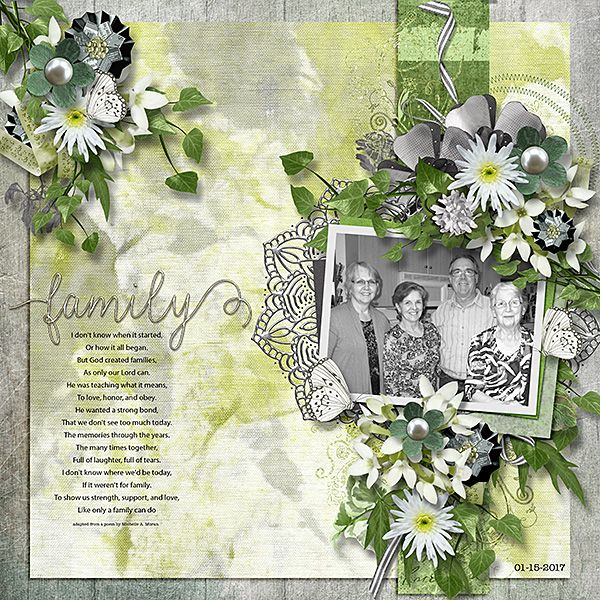 Dreams, a digital scrapbook collection for feminine and masculine layouts  in a fresh and pleasant palette of greens and greys.  Elements with a touch of springtime.