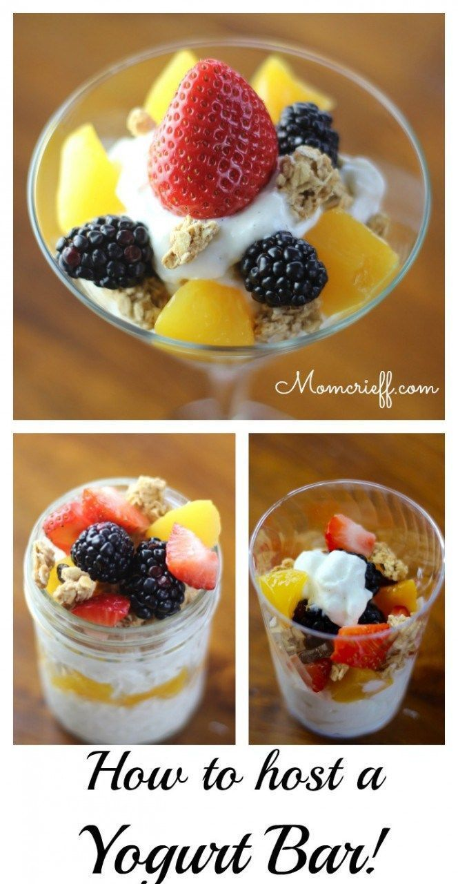 How to host a yogurt bar! A great breakfast idea. An easy way to serve breakfast to a large group.  Picky eaters get choices.  The hostess doesn't have to cook!!- Momcrieff
