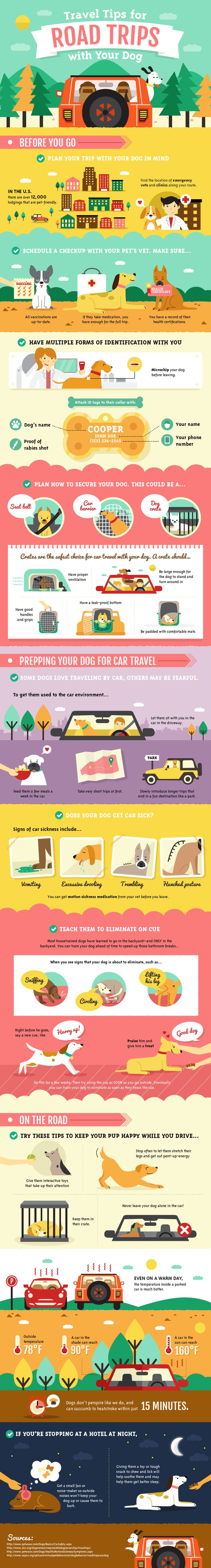 Travel tips for road trips with your dog. (More design inspiration at )