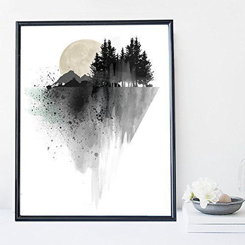 Black mountain watercolor wall art print poster - unframed