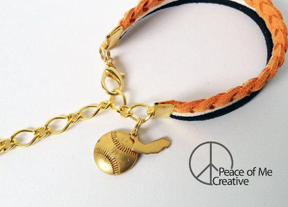 Layered Orange, White & Black San Francisco Giants Bracelet {GOLD}