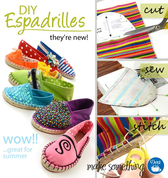 Introducing Dritz Espadrilles DIY Shoemaking Products - how cute are these, and they come in toddler sizes too!!!!