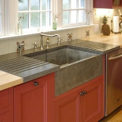 apron farm sink because clean drying dishes and dirty dishes are the only thing that goes - Kitchen Sinks Photos