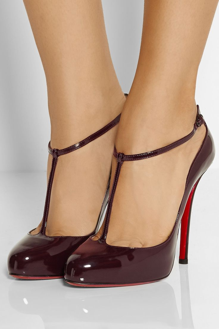 Christian Louboutin DITASSIMA Patent T Strap Heel Pumps Shoes Burgundy Wine  $895