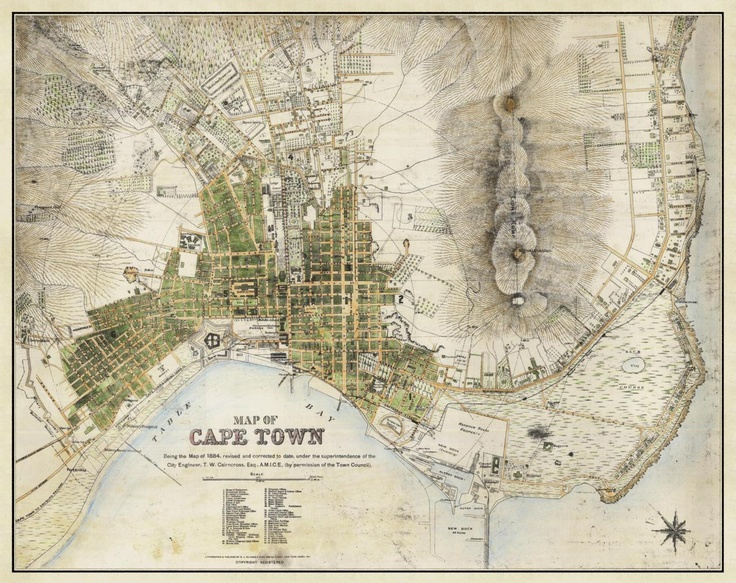 An old (3898 x 3089 px | 2.56 Mb) map of Cape Town. (South Africa now, part of Cape Colony then), 1884
