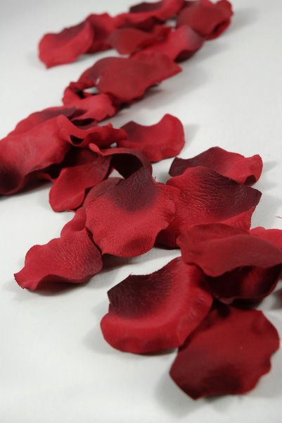 Silk Rose Petals Red (60 petals/box) $2.99 box / 6 boxes $2.19 box.  Can use for ceremony aisle runner/flower girl and scatter on reception tables.