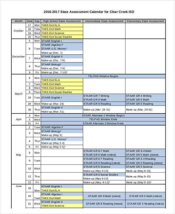 Samples Assessment Calendar Templates Di 2020