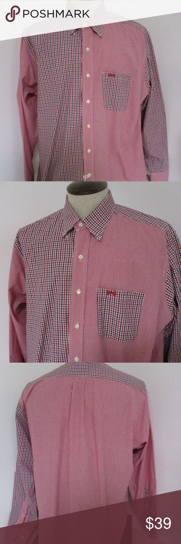 """Fraternity Collection Red Black Plaid Shirt XL Very cool shirt from Fraternity Collection     Size XL     Red , black and white plaid mixed with red and white plaid     100% cotton     Excellent condition, just dry cleaned     Chest- 26"""" laid flat  Length- 30"""" Fraternity Collection Shirts Casual Button Down Shirts"""