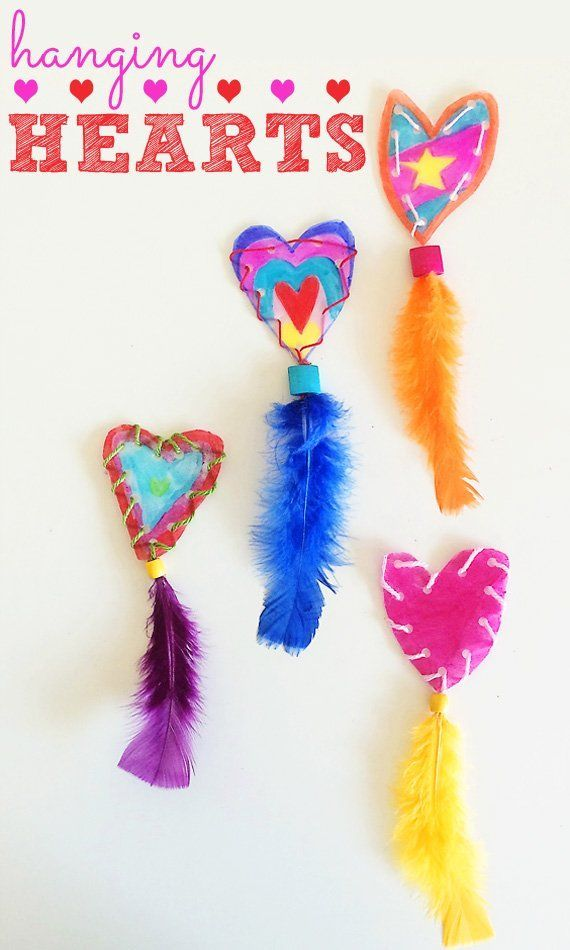 Hanging hearts Valentines craft idea for kids.