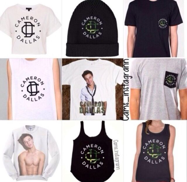 Cameron Dallas merchandise I like the shirt in the top left corner!