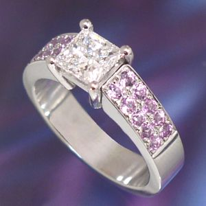 Ring Sutton Diamond and pink sapphire Engagement Ring