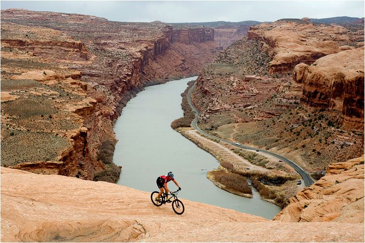 x Slickrock:  Moab, Utah.  This is where I learned, firsthand, what happens when you only use your front brakes when going downhill.  Ouch!